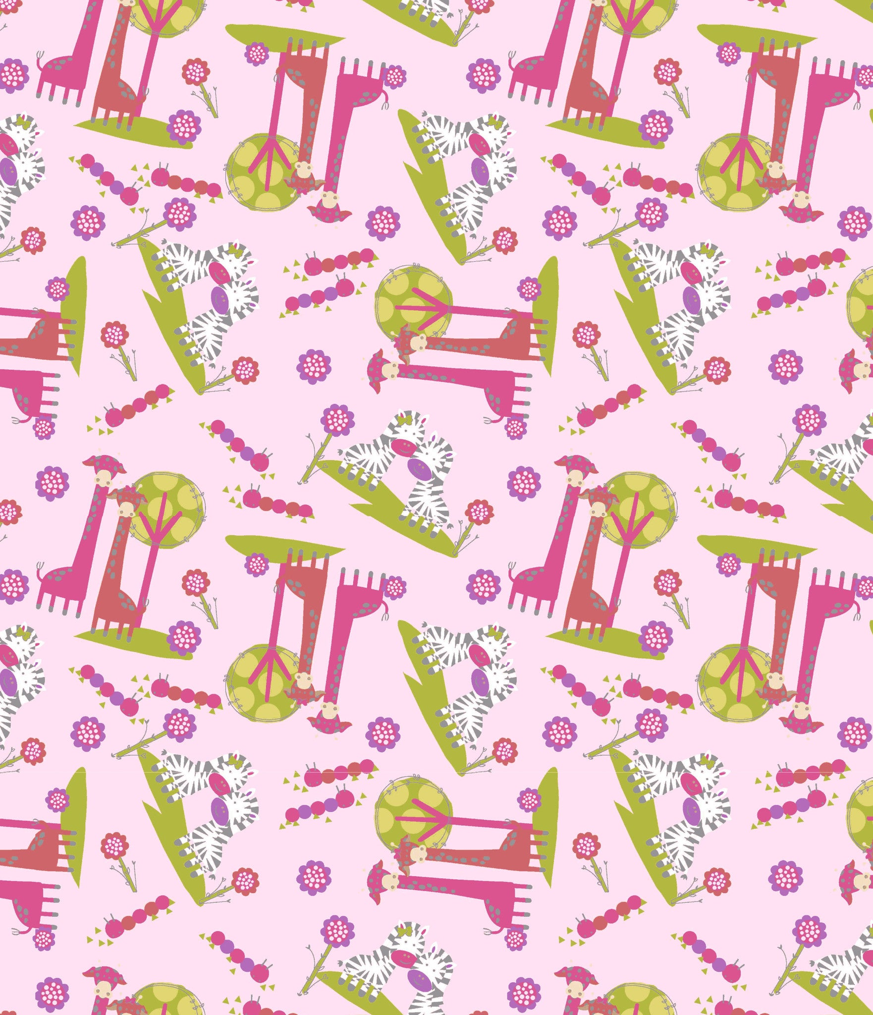 Cotton Flannel Print Zebra Pink