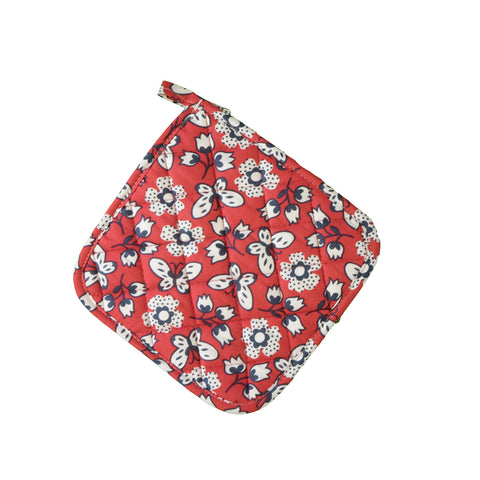 Stitch & Sparkle POT HOLDER 1 Piece Pack, Heat Resistant, 100% Cotton, Vintage, Butterfly Raspberry