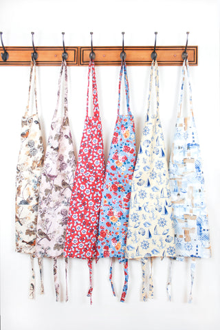 Stitch & Sparkle APRON with pocket, 100% Cotton, Vintage, Rose Cerulean,  One Size Fix For All