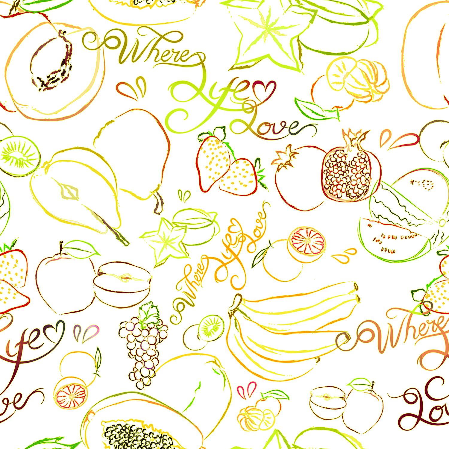 Stitch & Sparkle Fabrics, Fruity, Fruits World Cotton Fabrics,  Quilt, Crafts, Sewing, Cut By The Yard