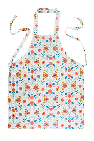 Stitch & Sparkle APRON with pocket, 100% Cotton, Modern Scandinavian, MS Flowers White,  One Size Fix For All