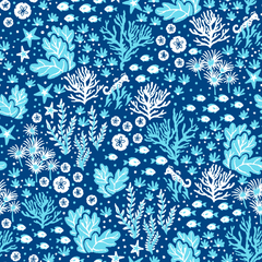 Stitch & Sparkle Fabrics, Under The Sea, Blue Seaweed Cotton Fabrics,  Quilt, Crafts, Sewing, Cut By The Yard