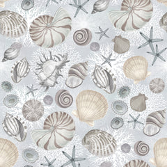 "Stitch & Sparkle Surrender To The Sea-Shells On Grey 100% Cotton Fabric 44"" Wide, Quilt Crafts Cut by The Yard"