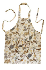 Stitch & Sparkle APRON with pocket, 100% Cotton, Aviary, Words Bird Beige,  One Size Fix For All