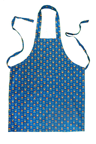 Stitch & Sparkle APRON with pocket, 100% Cotton, Modern Scandinavian, MS Sunflower Cobalt,  One Size Fix For All