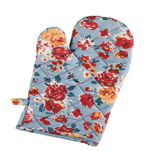 Stitch & Sparkle OVEN MITT 1 Piece Pack, Heat Resistant, 100% Cotton, Vintage, Rose Cerulean