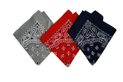 "Stitch & Sparkle Bandana 3-Pack 100% Cotton - Good Quality-Multi Purpose Bandana Gift Sets-Headband, Wrap, Protective Coverage 22"" x 22"", Grey, Red, and Ink"