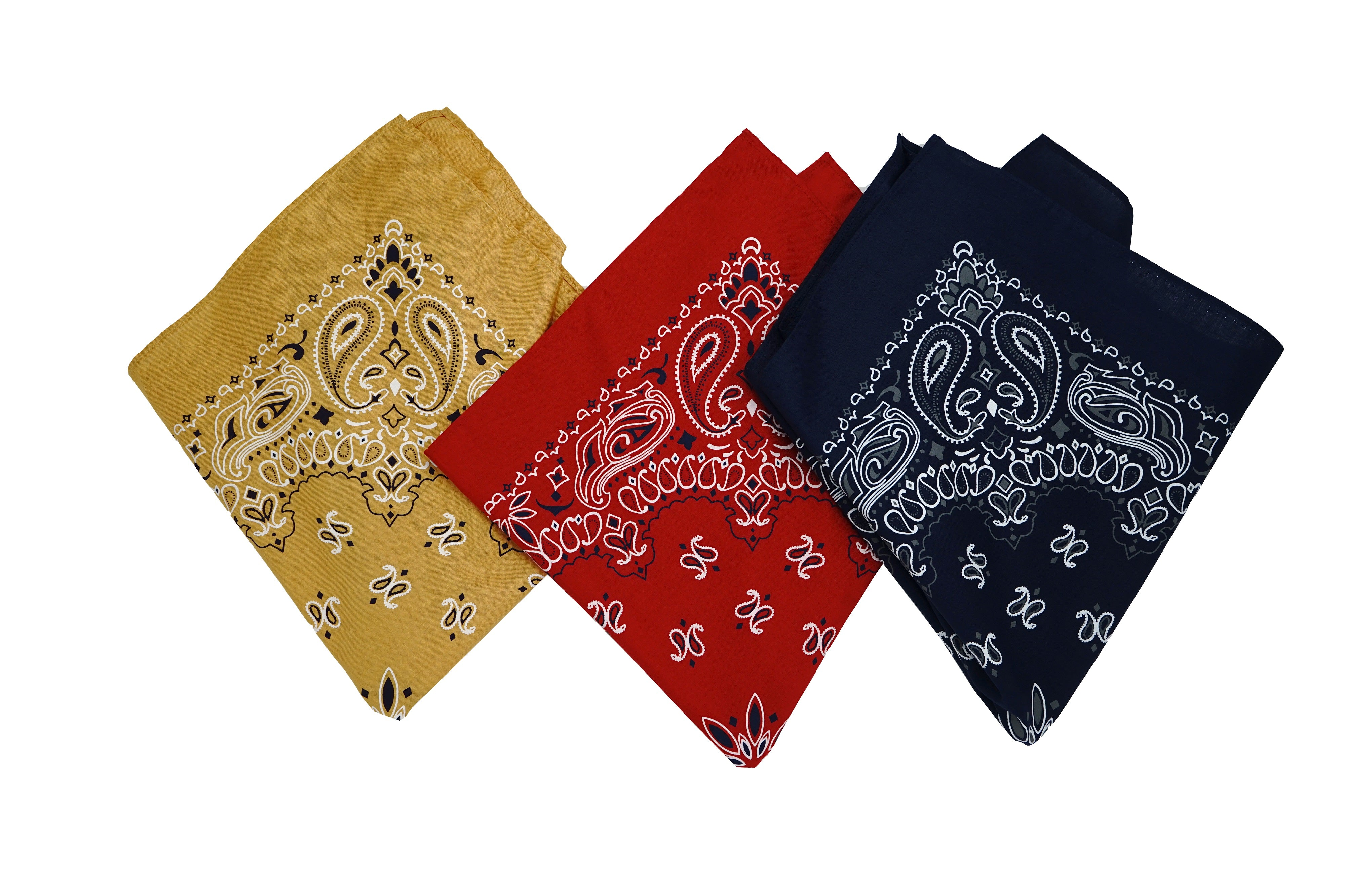 "Stitch & Sparkle Bandana 3-Pack 100% Cotton - Good Quality-Multi Purpose Bandana Gift Sets-Headband, Wrap, Protective Coverage 22"" x 22"", Mustard, Red, and Ink"