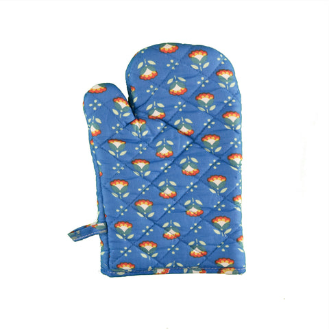 Stitch & Sparkle OVEN MITT 1 Piece Pack, Heat Resistant, 100% Cotton, Modern Scandinavian, MS Sunflower Cobalt