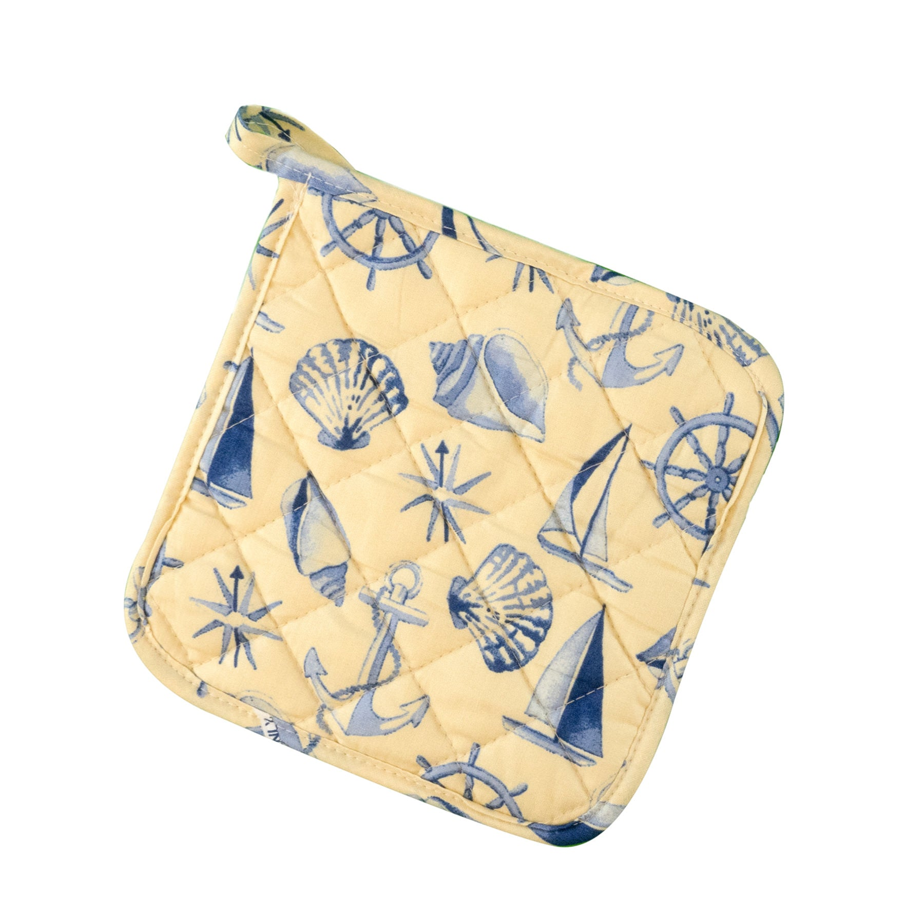 Stitch & Sparkle POT HOLDER 1 Piece Pack, Heat Resistant, 100% Cotton, Nautical, Shell Beige