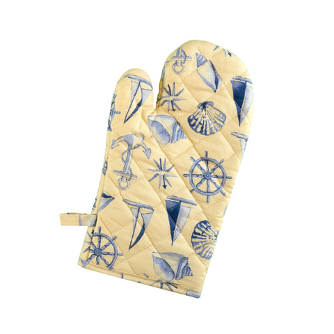 Stitch & Sparkle OVEN MITT 1 Piece Pack, Heat Resistant, 100% Cotton, Nautical, Shell Beige