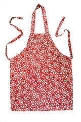 Stitch & Sparkle APRON with pocket, 100% Cotton, Vintage, Butterfly Raspberry,  One Size Fix For All