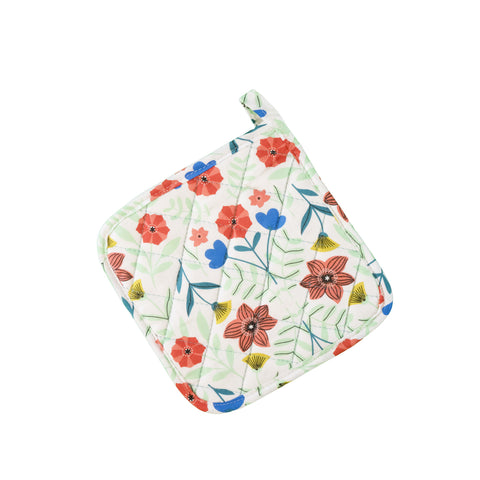 Stitch & Sparkle POT HOLDER 1 Piece Pack, Heat Resistant, 100% Cotton, Modern Scandinavian, MS Flowers White