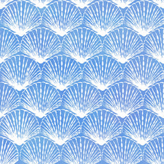 "Stitch & Sparkle Surrender To The Sea-White Line Shell On Blue 100% Cotton Fabric 44"" Wide, Quilt Crafts Cut by The Yard"