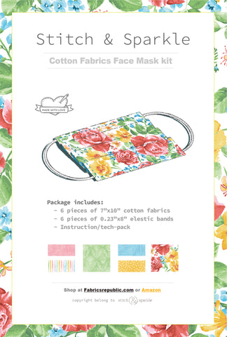 DIY Face Mask Kit for 3 Reuseable Masks.The kit Includes 6 Pieces of 100% Cotton Fabrics and 6 Pieces of Elastic Bands