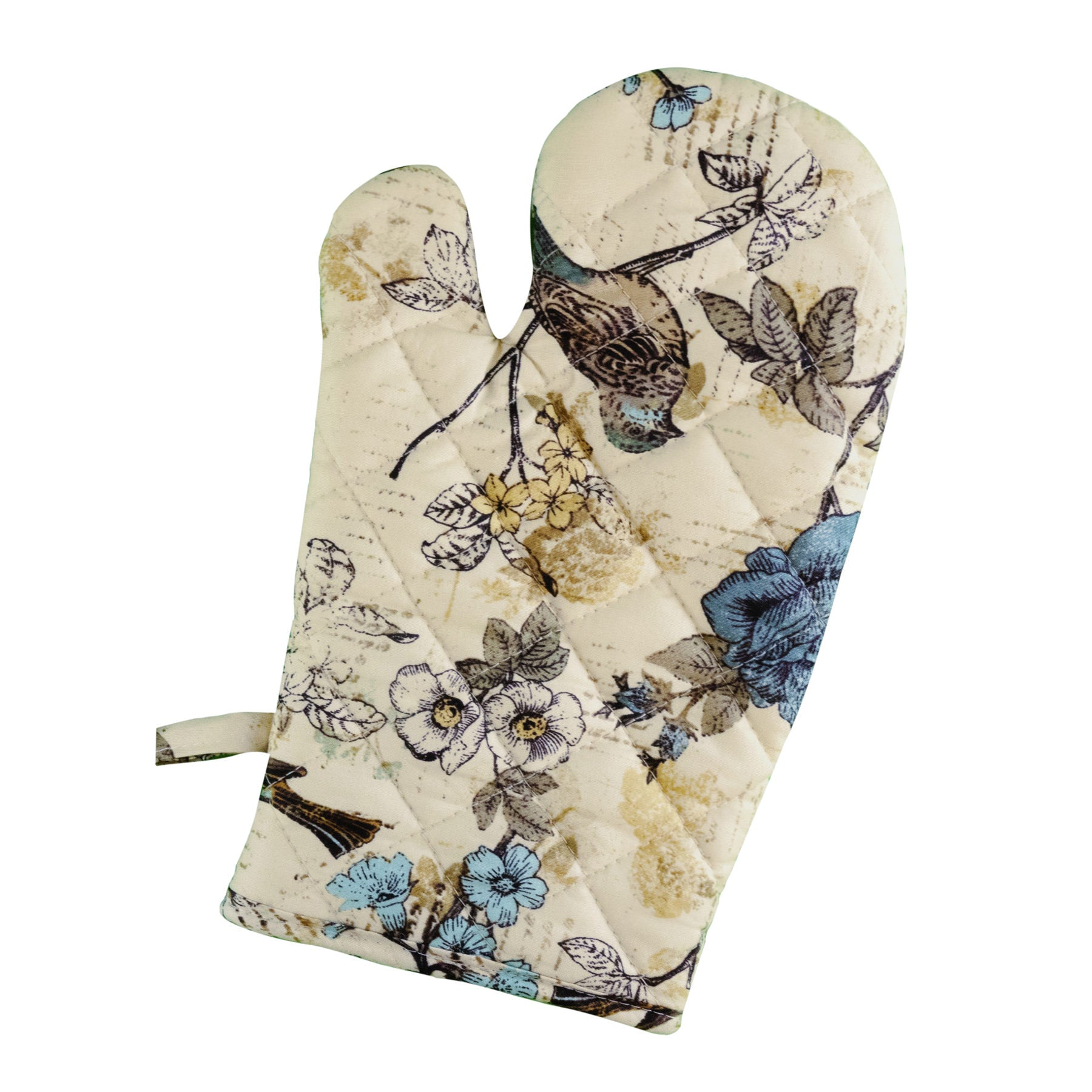 Stitch & Sparkle OVEN MITT 1 Piece Pack, Heat Resistant, 100% Cotton, Aviary, Words Bird Beige