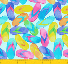 "Paul Brent PB FLIP FLOP DREAMS  100% Cotton Prints Fabric 44"" Wide, Quilt Crafts Cut By The Yard"