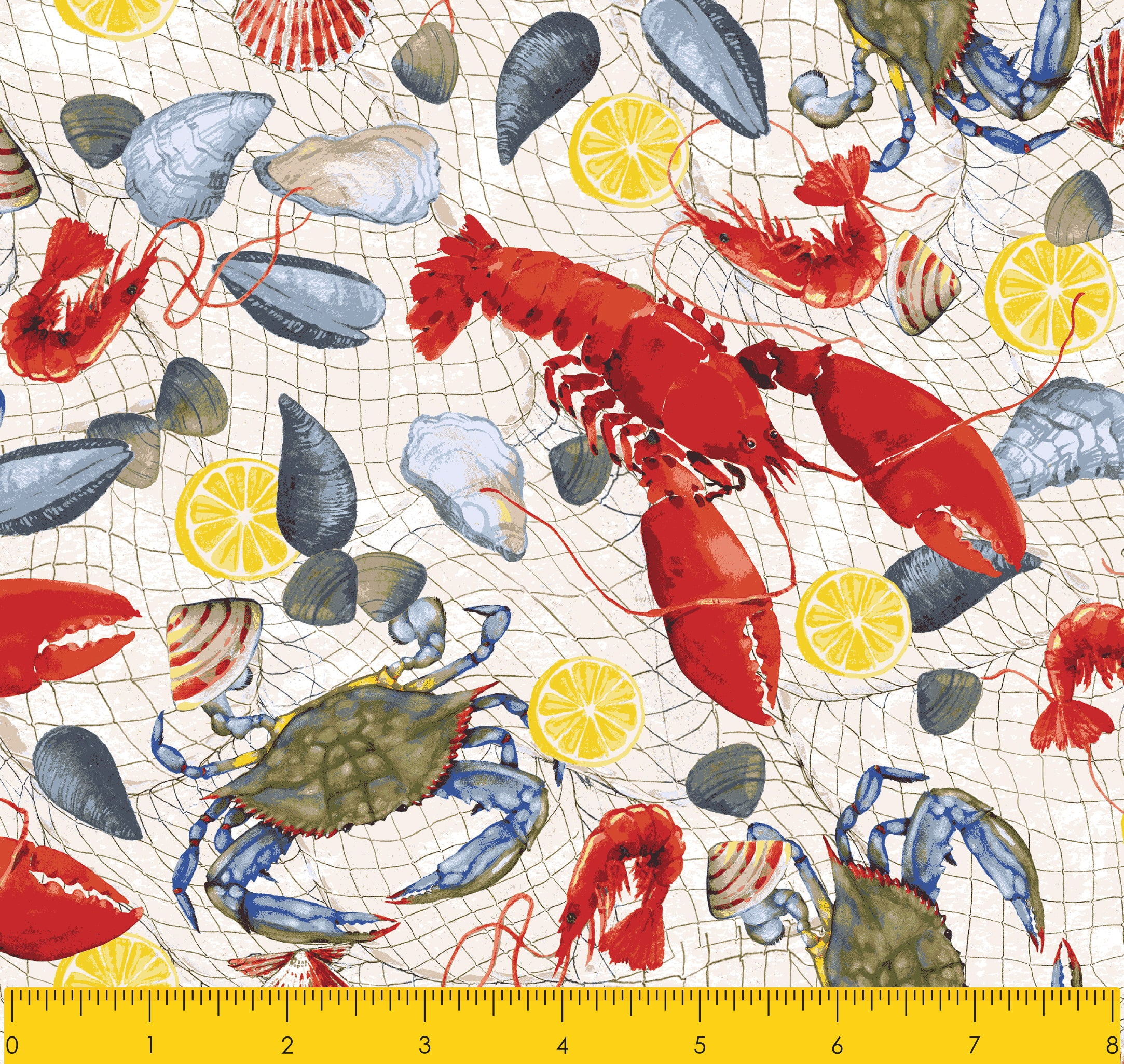 "Paul Brent PB FRESH CATCH  100% Cotton Prints Fabric 44"" Wide, Quilt Crafts Cut By The Yard"