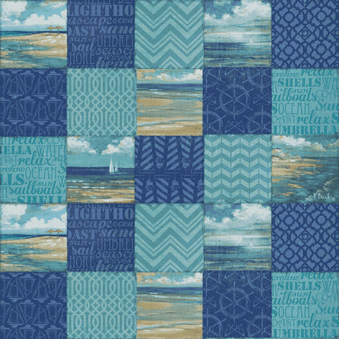 "Paul Brent PB BEACHSCAPE PATCHWORK HORIZONTAL  100% Cotton Prints Fabric 44"" Wide, Quilt Crafts Cut By The Yard"