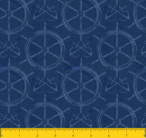 "Paul Brent PB BOAT WHEELS 100% Cotton Prints Fabric 44"" Wide, Quilt Crafts Cut By The Yard"