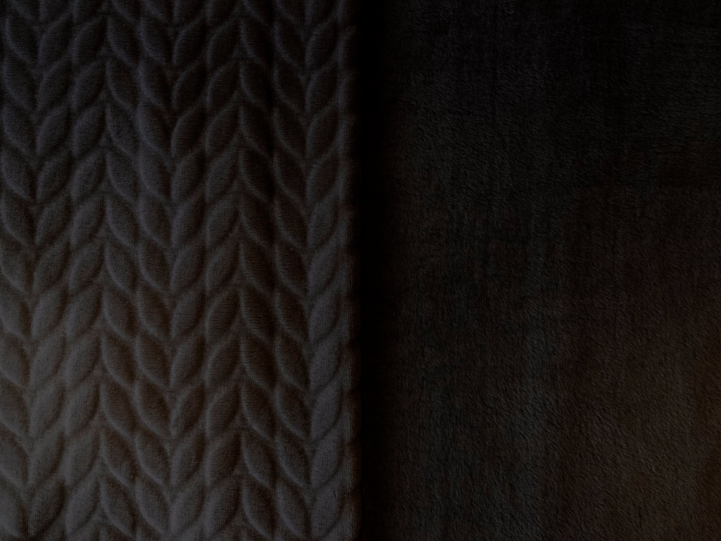 Stitch & Sparkle 100% Polyester Squiggly Minky  Fleece, Black, Blanket Fabric, Apparel Fabric, Nurcery Fabric, 60'', 245Gsm