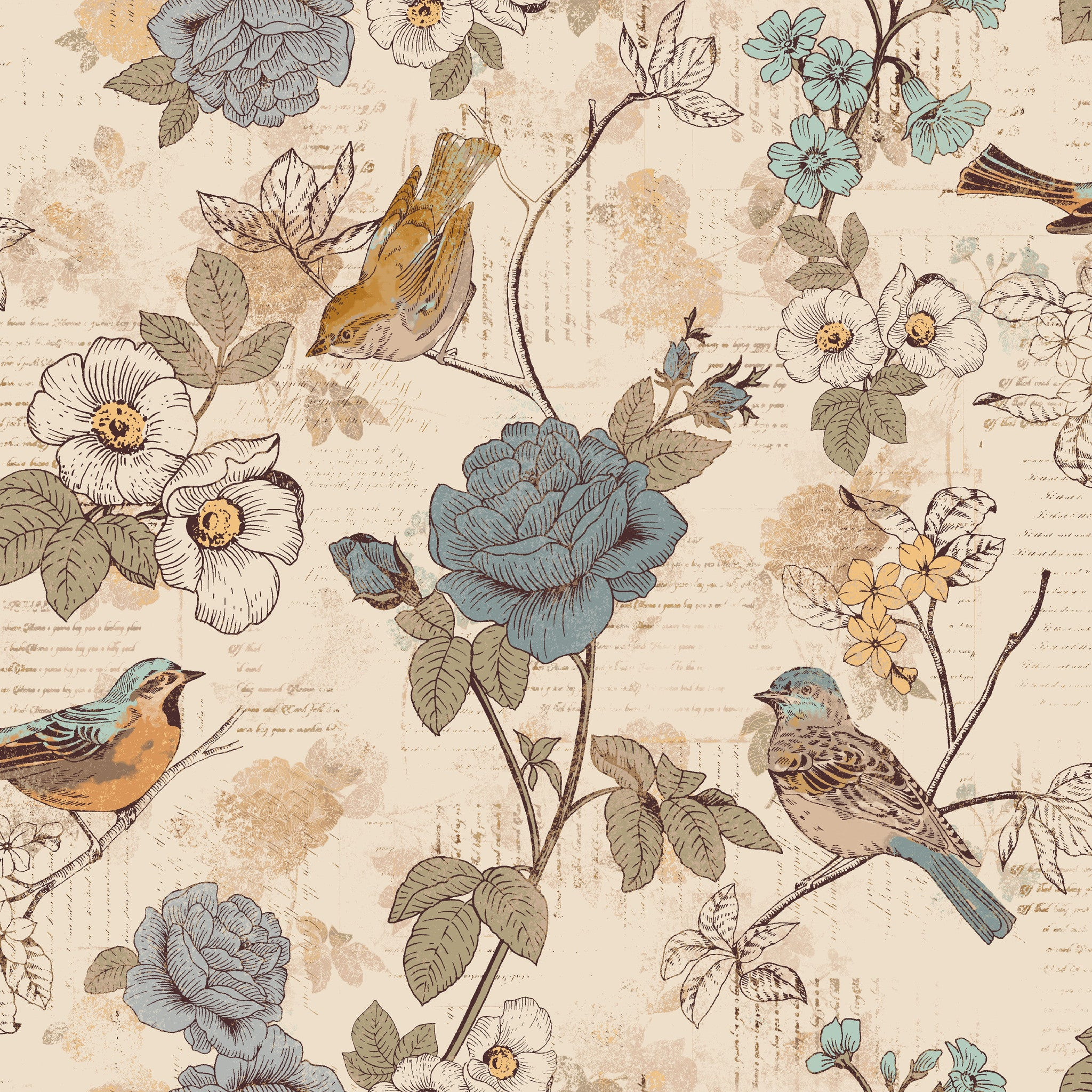 AVIARY-SS AY Words Bird Beige 100% Cotton Print fabric
