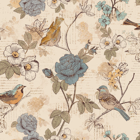 AVIARY-SS AY Words Bird Beige 100% Cotton Print fabric - SSAY001