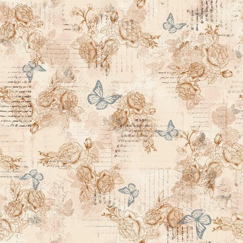 AVIARY-SS AY Words Butterly Beige 100% Cotton Print fabric