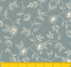 AVIARY-Print fabricSS AY Floral Stone Blue 100% Cotton