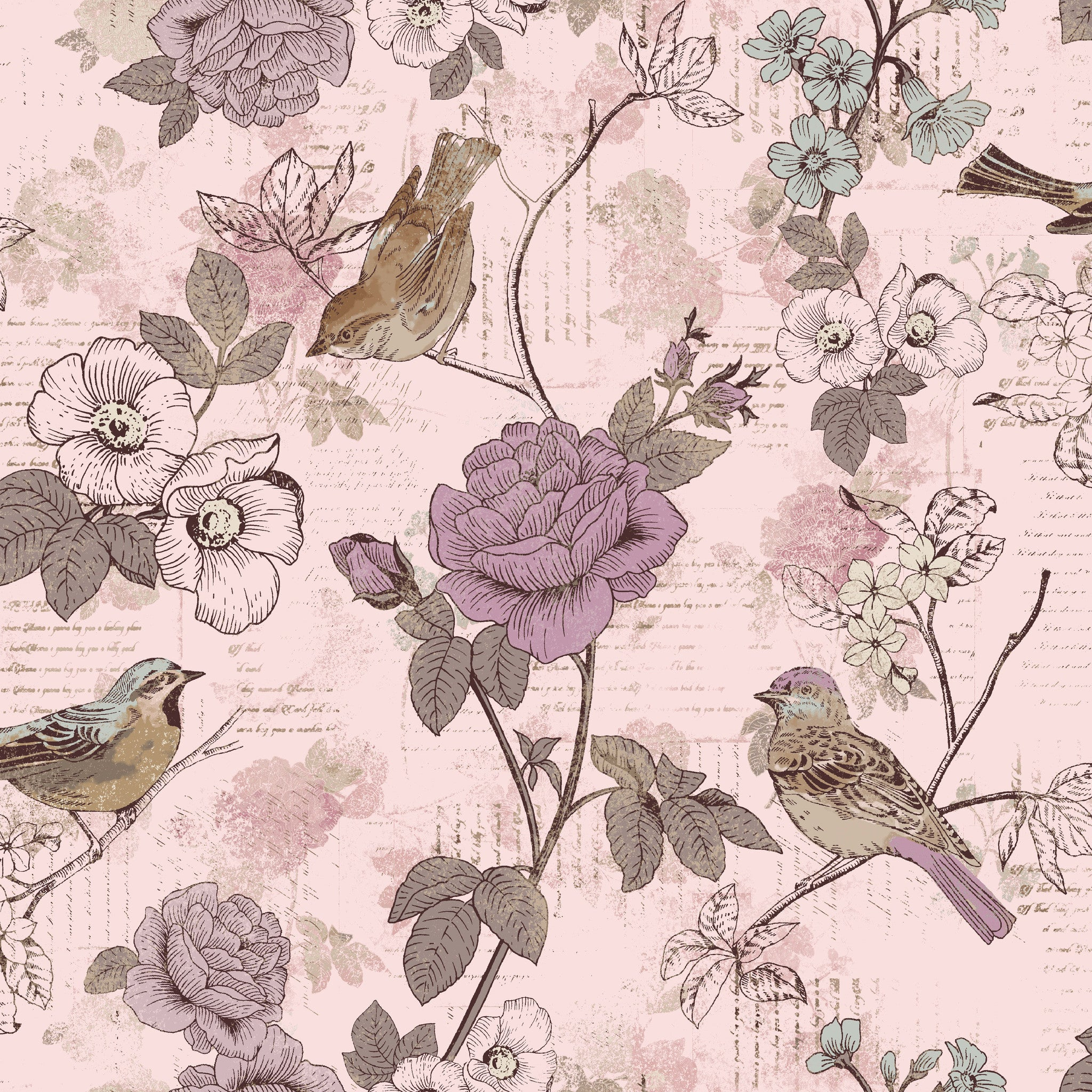 AVIARY-SS AY Words Bird Lavender 100% Cotton Print fabric