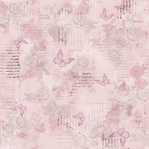 AVIARY-SS AY Words Butterly Lavender 100% Cotton Print fabric