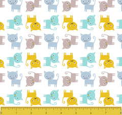 "Stitch & Sparkle  Blue cats 100% Cotton Flannel Fabric 43"" Wide, Quilt Crafts Cut By The Yard"