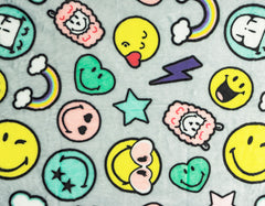 "Stitch & Sparkle Smiley Minky Solf Fleece Smiley Party Pattern, Blanket Fabric, Nursery Fabric, 60"" Width, 300GSM"