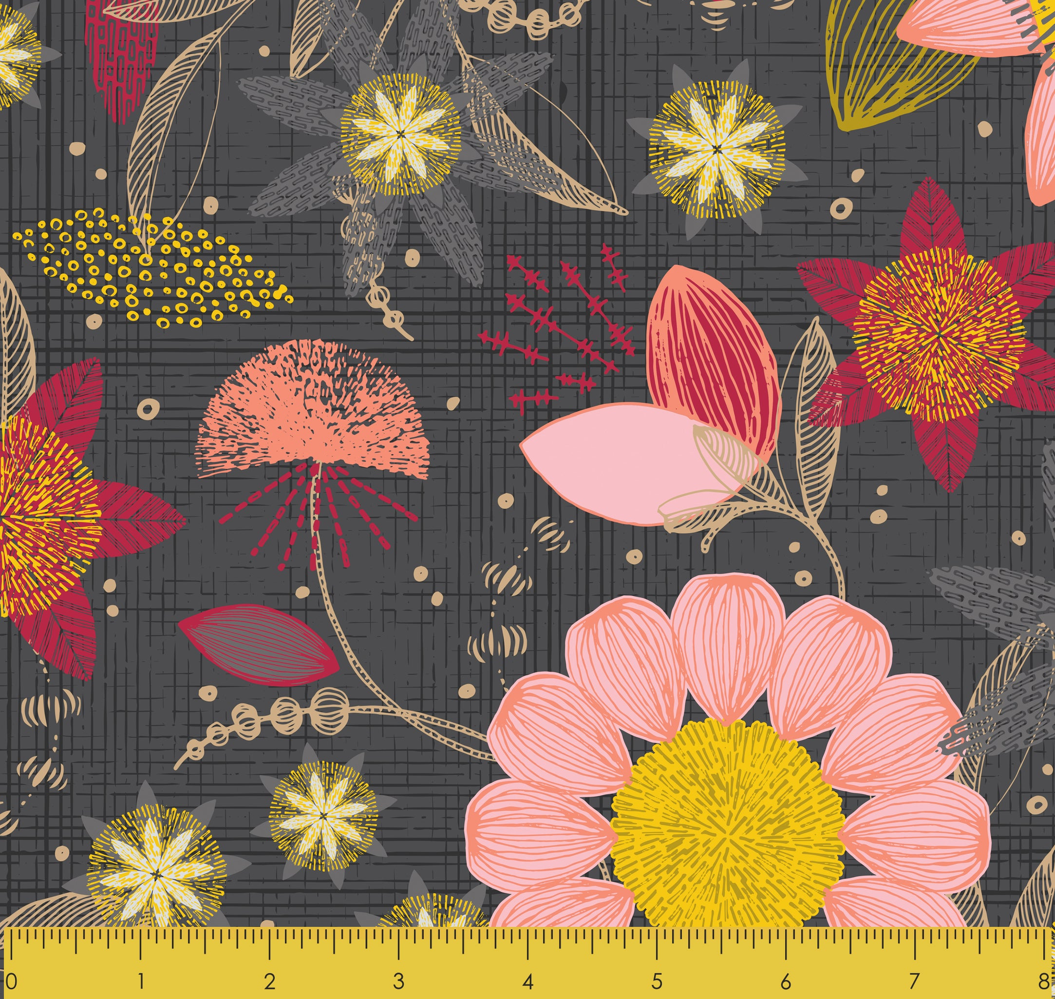 "Stitch & Sparkle Mid-Centry-Patio Burst Coral Dark 100% Cotton Fabric 44"" Wide, Quilt Crafts Cut by The Yard"