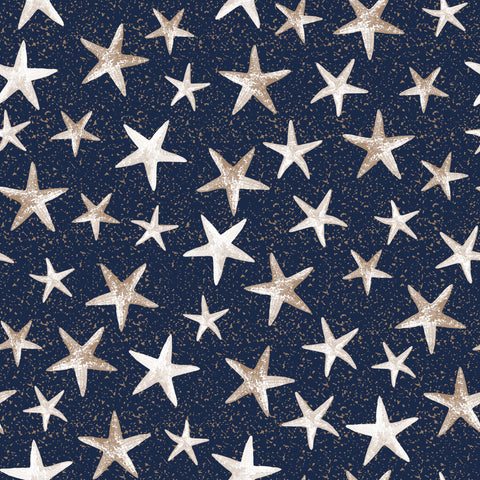 NAUTICAL-SS Starfish Navy 100% Cotton