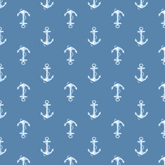 NAUTICAL-SS Anchor Blue 100% Cotton