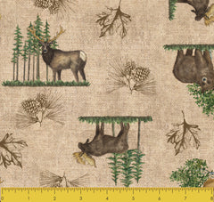 "Stitch & Sparkle Paul Brent-Lodge Farm-Wildlife In The Forest 100% Cotton Fabric 44"" Wide, Quilt Crafts Cut by The Yard"