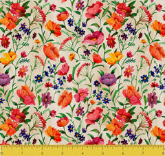 "Stitch & Sparkle Melody Garden-Blossoming 100% Cotton Fabric 44"" Wide, Quilt Crafts Cut by The Yard"