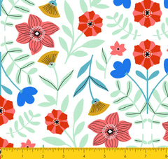 SCANDINAVIAN-SS MS Flowers White 100% Cotton
