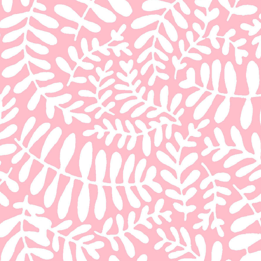 SCANDINAVIAN-SS MS Leafs Pink 100% Cotton