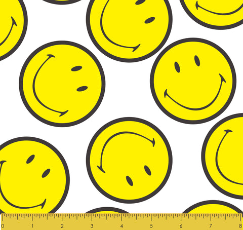 "Stitch & Sparkle Smiley Minky Solf Fleece Happy Everyday Pattern, Blanket Fabric, Nursery Fabric, 60"" Width, 300GSM"