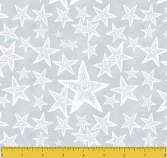 "Stitch & Sparkle Surrender To The Sea-Sea Stars On Grey 100% Cotton Fabric 44"" Wide, Quilt Crafts Cut by The Yard"
