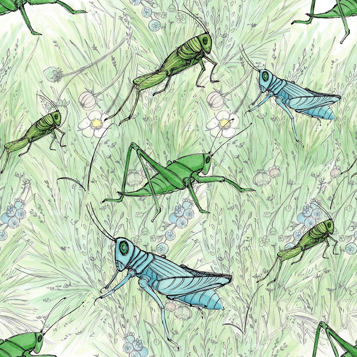 "Stitch & Sparkle Maries Picnic-Grass Hopper 100% Cotton Fabric 44"" Wide, Quilt Crafts Cut by The Yard"