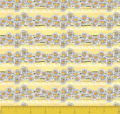 "Stitch & Sparkle Maries Picnic-Daisy Light Yellow 100% Cotton Fabric 44"" Wide, Quilt Crafts Cut by The Yard"