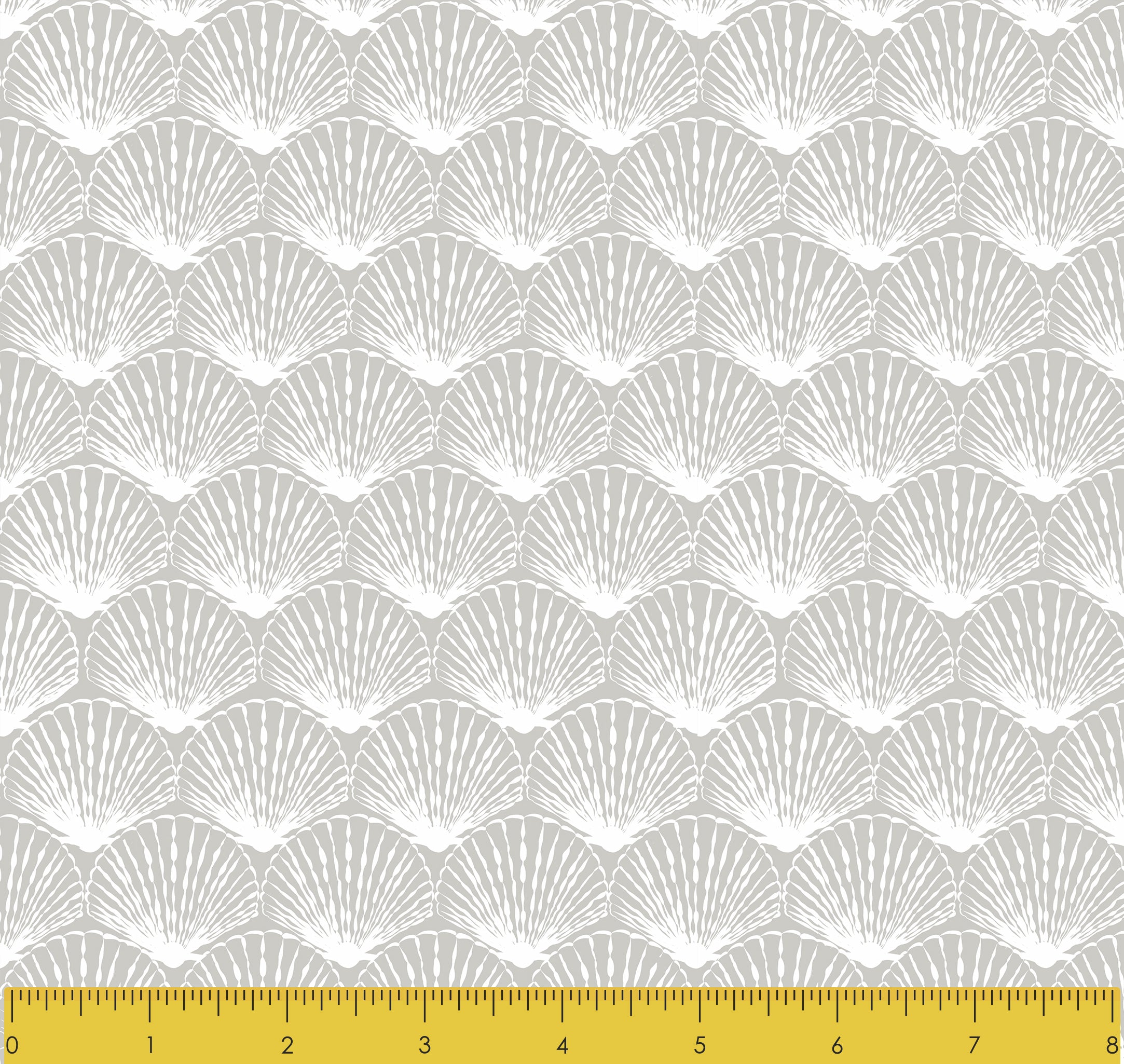 "Stitch & Sparkle Surrender To The Sea-White Fan Shell 100% Cotton Fabric 44"" Wide, Quilt Crafts Cut by The Yard"