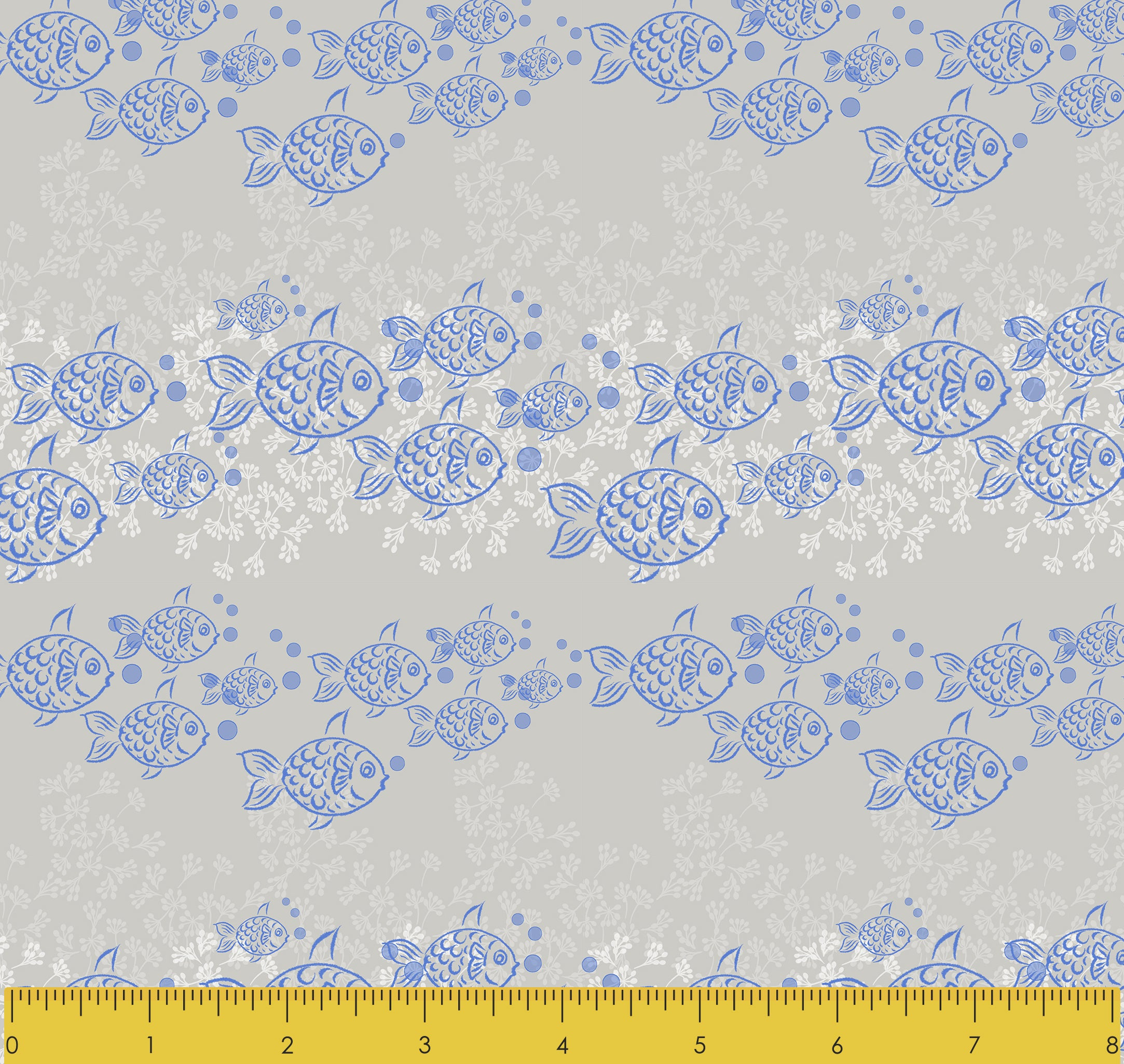 "Stitch & Sparkle Surrender To The Sea-Fish Line 100% Cotton Fabric 44"" Wide, Quilt Crafts Cut by The Yard"