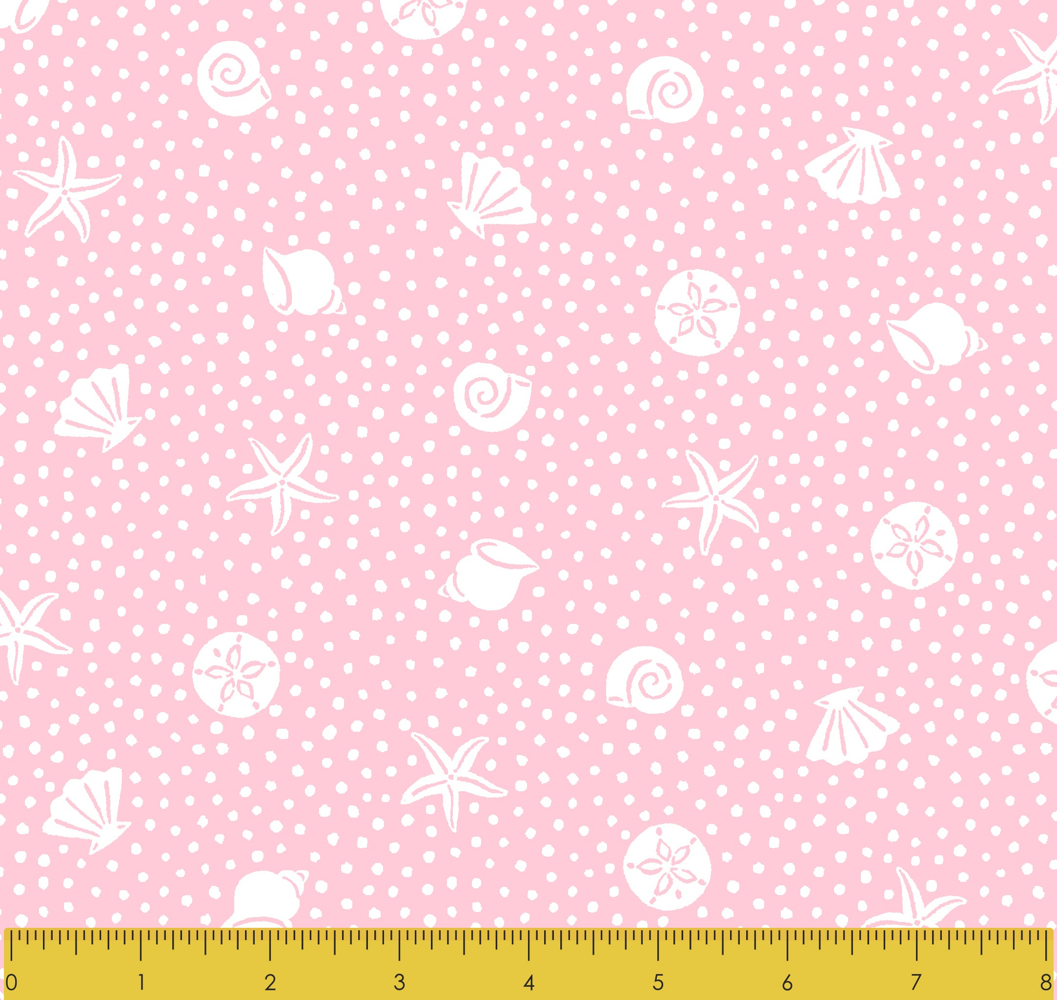 Stitch & Sparkle Fabrics, Under The Sea, Shell And Starfish Pink Cotton Fabrics,  Quilt, Crafts, Sewing, Cut By The Yard
