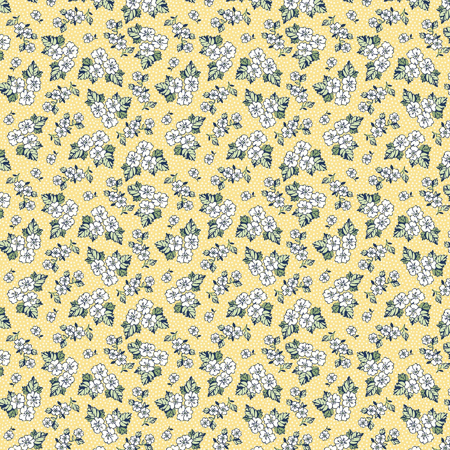 VINTAGE MIX & MATCH-SS VM Floral Dot Yellow 100% Cotton