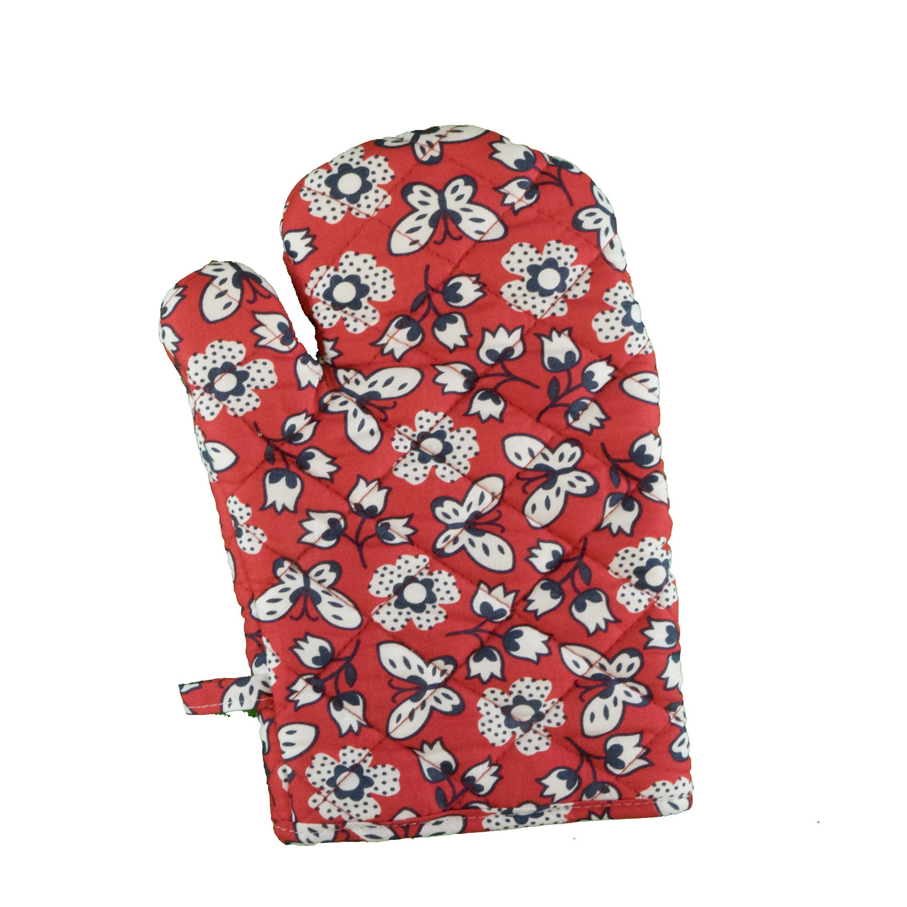 Stitch & Sparkle OVEN MITT 1 Piece Pack, Heat Resistant, 100% Cotton, Vintage, Butterfly Raspberry