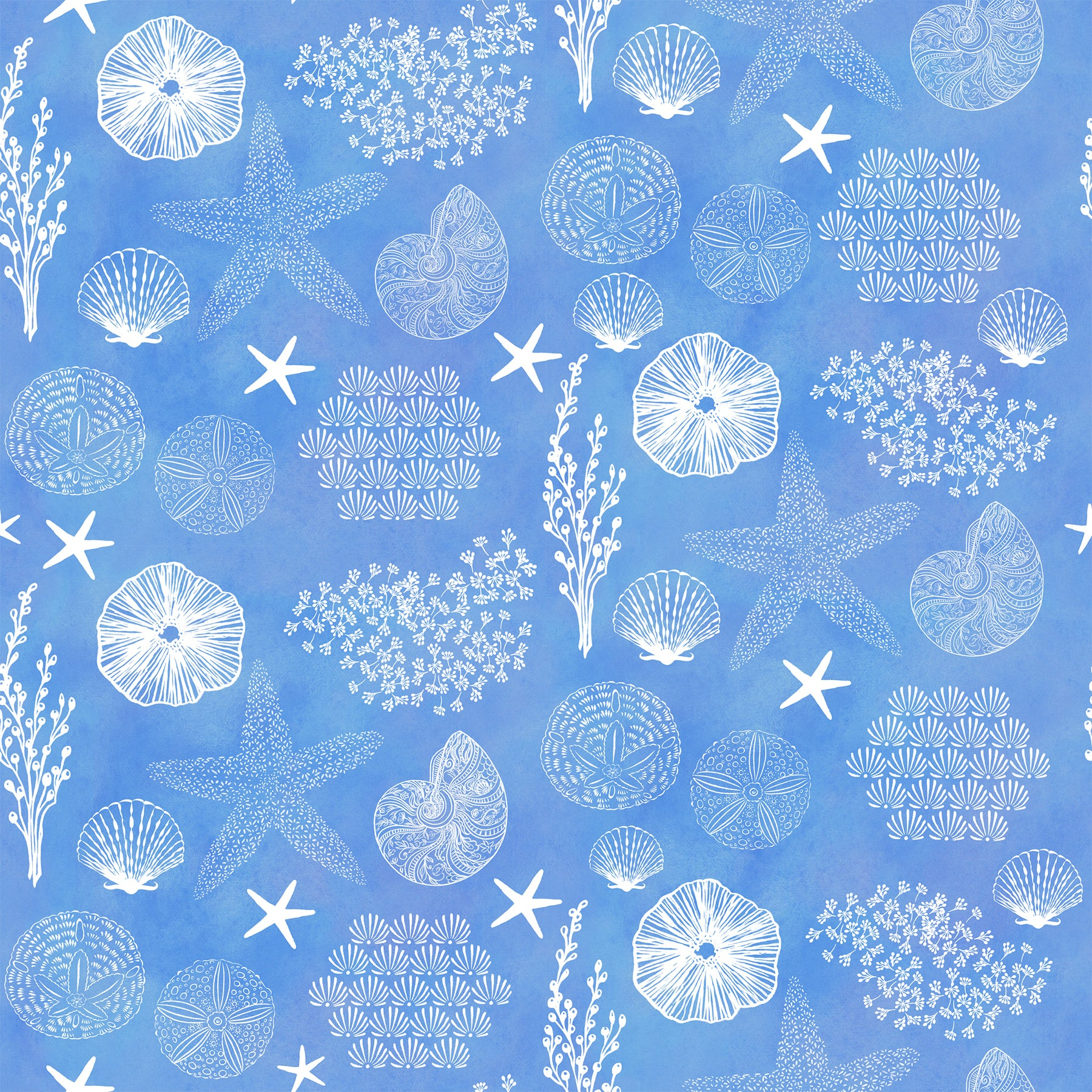 "Stitch & Sparkle Surrender To The Sea-All Shells On Blue 100% Cotton Fabric 44"" Wide, Quilt Crafts Cut by The Yard"